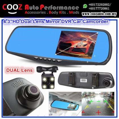 SAFEFIRST Q5 4.3″ WDR Dual Lens Mirror DVR Front & Rear Car Camcorder & Reverse Camera