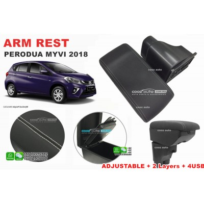 Perodua Myvi 2017 2018 PVC Adjustable Arm Rest Armrest Console Black Leather 4 USB