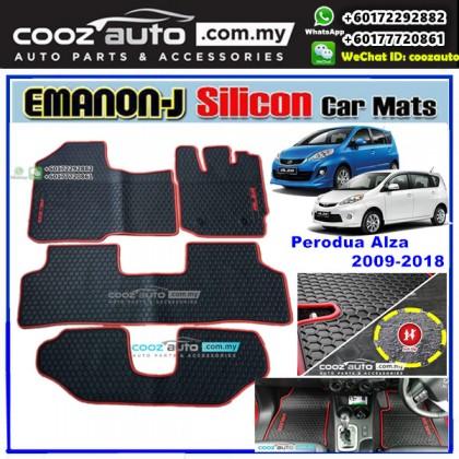 Perodua Alza 2009 - 2018 EMANON-J Silicon Car Floor Mats Waterproof Carpet