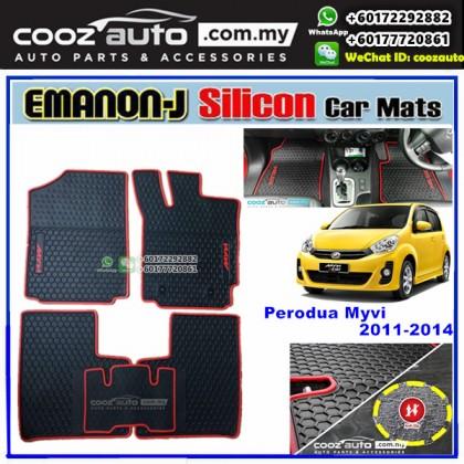 Perodua Myvi 2011-2014 EMANON-J Silicon Car Floor Mats Waterproof Carpet