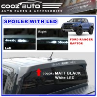 Ford Ranger Raptor Matte Black Rear Spoiler with White LED