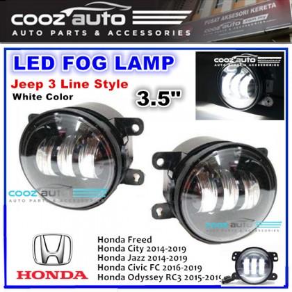 3.5 Inch White LED Fog Lamp Honda City Civic Jazz Freed Odyssey (Jeep 3 Line Style)