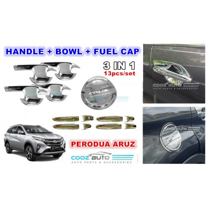 Perodua Aruz 3in1 Chrome Door Handle Cover + Handle Bowl Protection + Fuel Cap (13pcs/set)