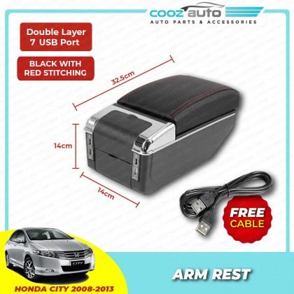 Honda CITY 2008 - 2013 7 USB Double Layer Arm Rest Armrest Console Black Leather