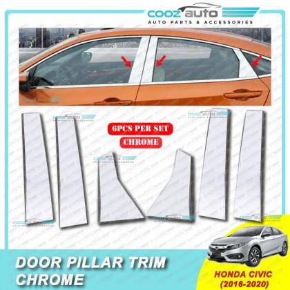 Honda Civic FC 2016 - 2020 Chrome Door Window Pillar Trim Cover (6Pcs)
