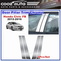 Honda Civic FB 2012 - 2016  Chrome Door Window Pillar Trim Cover (4Pcs)