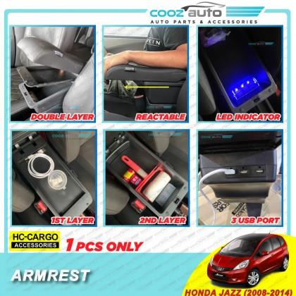 Honda Jazz 2008 - 2014 HC Cargo Premium USB LED Indicator Double Layer Arm Rest Armrest