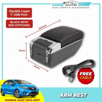 Honda Jazz 2014 - 2017 7 USB Double Layer Arm Rest Armrest Console Black Leather