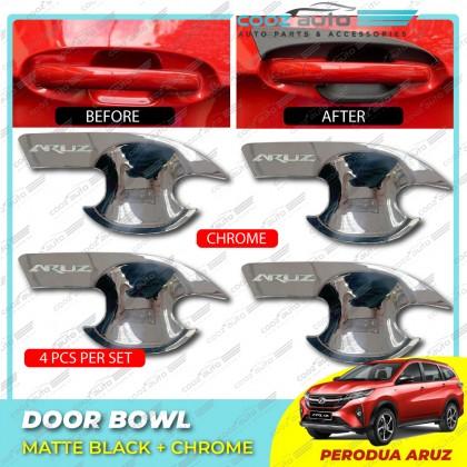 Perodua Aruz Chrome / Matte Black Door Handle Inner Bowl Inserts Cover