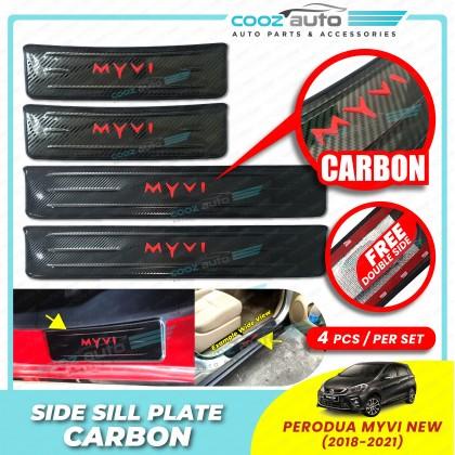 Perodua Myvi 2018 - 2021 Door Side Sill Step Plates Carbon Fiber With Red Logo Emblem Word Car