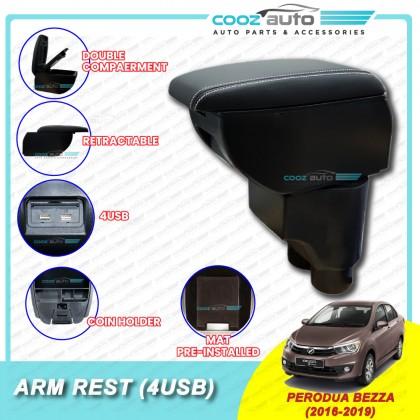 Perodua Bezza PVC Adjustable Arm Rest Armrest Console Black Leather 4 USB