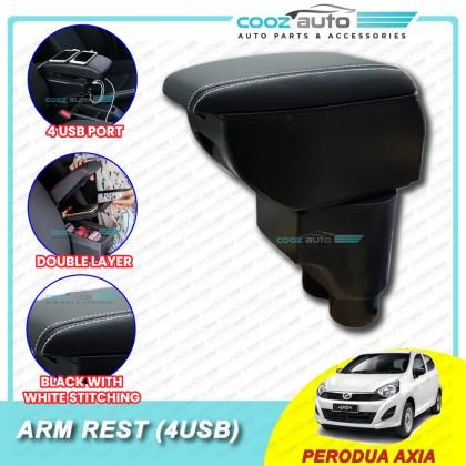 Perodua Axia PVC Adjustable Arm Rest Armrest Console Black Leather 4 USB
