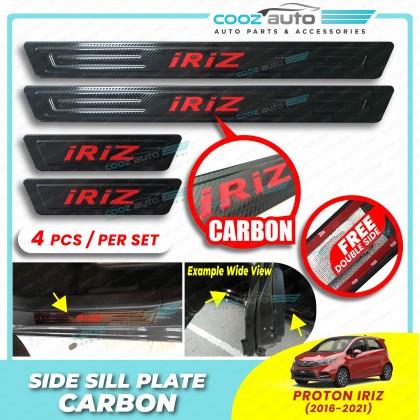 Proton Iriz Door Side Sill Step Plates Carbon Fiber With Red Logo Emblem Word Car