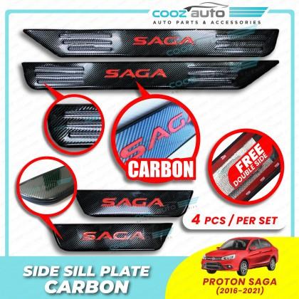 Proton Saga 2016 - 2021 Door Side Sill Step Plates Carbon Fiber With Red Logo Emblem Word Car