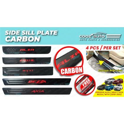 Perodua Door Side Sill Step Plates Carbon Fiber With Red Logo Emblem Word Car