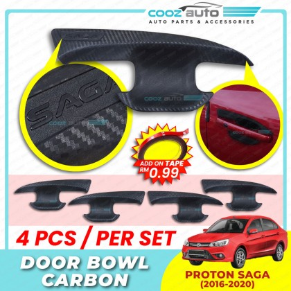 Proton Saga 2016 - 2020 Carbon Door Handle Inner Bowl Inserts Cover