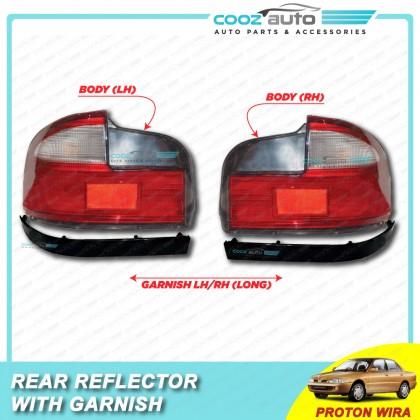 Proton Wira 2In1 Taillamp Tail Lamp Rear Bonnet Reflector With Garnish Black