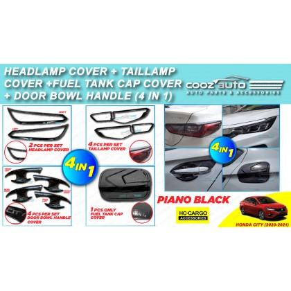 Honda City 2020 - 2021 4In1 HeadLamp Cover + TailLamp Cover + Door Bowl Cover +Fuel Tank Cap Cover Piano Black