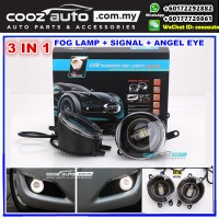 Toyota WISH 2009-2016 3in1 3.5 Inch LED Daytime Running Light DRL Fog Lamp + Signal Turning Light + Angel Eye (WHITE Color)
