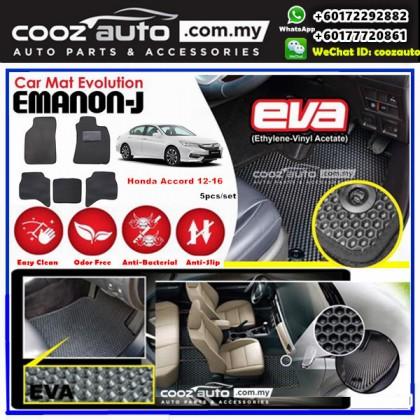 Honda Accord 2012-2016 EMANON-J EVA Black Customized Odor-Free Anti-Bacterial Car Floor Mats Waterproof Carpet