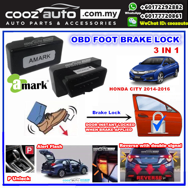 Honda City 2014-2016 3 IN 1 A-MARK PLUG & PLAY OBD FOOT BRAKE AUTO DOOR LOCK