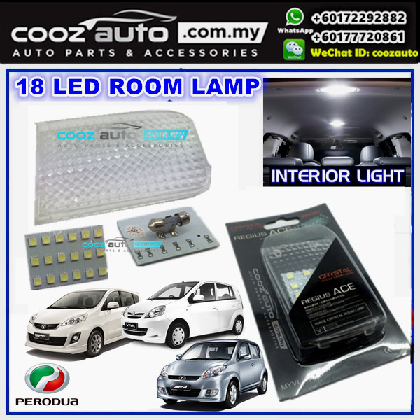 Perodua Alza Myvi Viva LED Room Lamp White With Crystal Cover