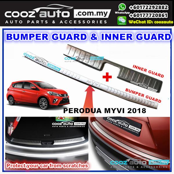 Perodua Myvi 2018 2pcs Alloy Rear Bumper Inner Guard Trunk Lid Protector Chrome
