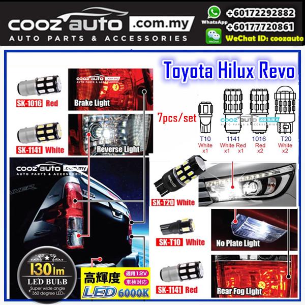 Toyota Hilux Revo 2015 - 2018 White LED Brake Reverse Bulb License Plate Fog Light
