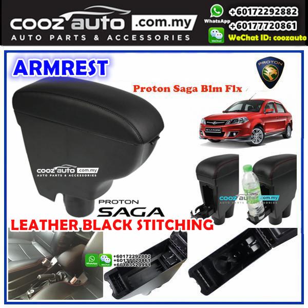 Proton Saga Blm Fl Flx PVC Arm Rest Armrest Console Black Leather Black Stitching