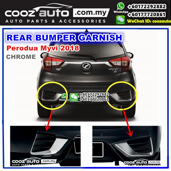 Perodua Myvi 2018 Chrome Front Grille Rear Bumper Boot Tailgate Garnish (4pcs)
