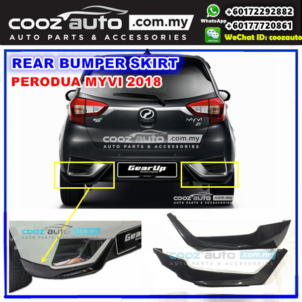 Perodua Myvi 2018 Rear Bumper Skirt Skirting (Black)