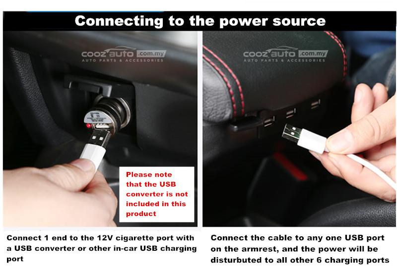 Perodua Myvi 2017 - 2019 USB Double Layer Arm Rest Armrest Console Black Leather