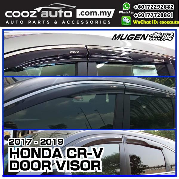 HONDA CRV CR-V 2017-2019 Black Mugen Style Door Visor With Chrome Lining Trim