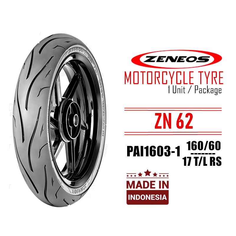 ZENEOS ZN62 PAI1603-1 160/60 RS 17 Inch TL Racing Spec Motorcycle Tubeless Tyre Tire