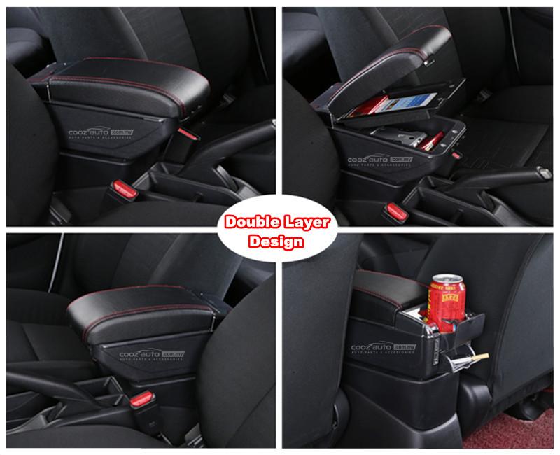 Perodua Aruz 7 USB Double Layer Arm Rest Armrest Console Black Leather