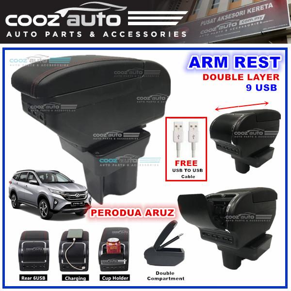 Perodua Aruz Double Layer Arm Rest Armrest 7 USB Console