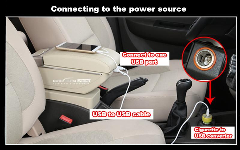 Perodua Aruz Double Layer Arm Rest Armrest 5 USB Console Red Stitching