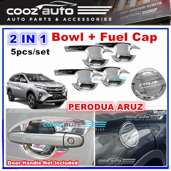 Perodua Aruz 2in1 Chrome Door Handle Bowl Cover Protection + Fuel Cap (5pcs/set)