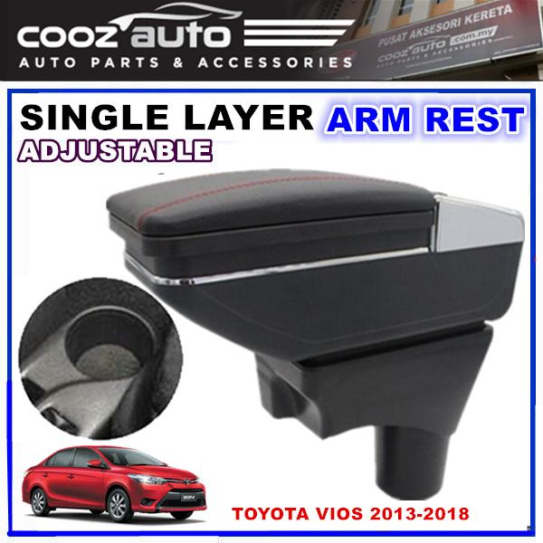 Toyota Vios 2013 -2018 SINGLE LAYER ADJUSTABLE ARM REST ARMREST CONSOLE BLACK