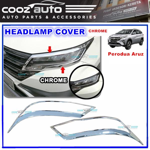 Perodua Aruz Headlamp Head Lamp Light Cover Chrome Moulding Protector Guard