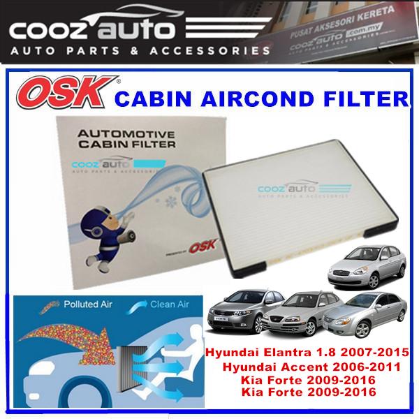 Hyundai Accent 2006-2011 / Hyundai Elantra 1.8 2007-2015 / Kia Forte Cerato 2009-2016 OSK Cabin Aircond Filter
