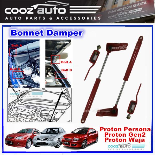 Proton Waja Gen-2 Persona Front Hood Damper Bonnet Gas Lifter Twin Strut (2Pcs/Set)