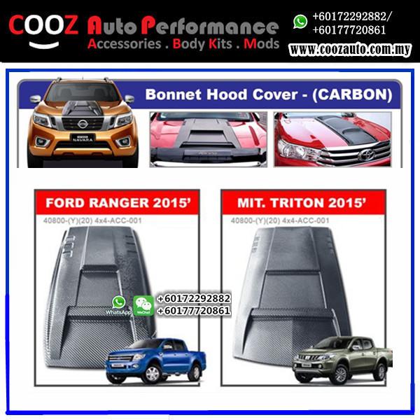 Mitsubishi Triton 2015-2017 Engine Hood Cover Air Scoop Bonnet Cover (Carbon)