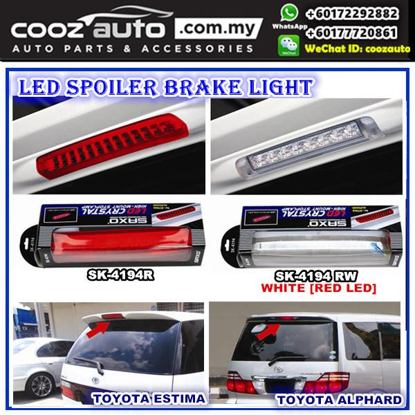 TOYOTA ALPHARD VELLFIRE OLD LED Spoiler Third 3rd Brake Light Lamp (White Lens)