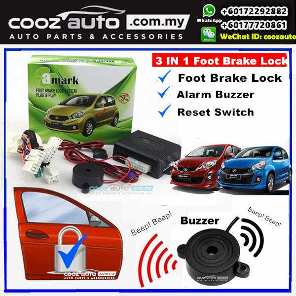 A-Mark Perodua Alza SE 2015-2017 3 in 1 Foot Brake Lock + Alarm Buzzer + Reset Switch