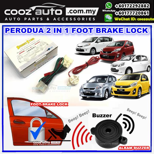 SmartStar Perodua Myvi 2006-2010 2 in 1 Foot Brake Lock + Alarm Buzzer