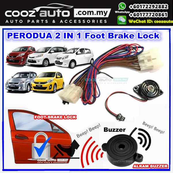 Perodua Myvi 2006-2010 2 in 1 Foot Brake Lock + Alarm Buzzer