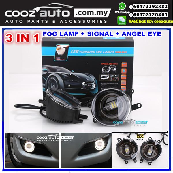 Toyota Alphard Vellfire ANH20 2009-2014 3in1 3 5 Inch LED Daytime Running  Light DRL Fog Lamp + Signal Turning Light + Angel Eye (WHITE Color)