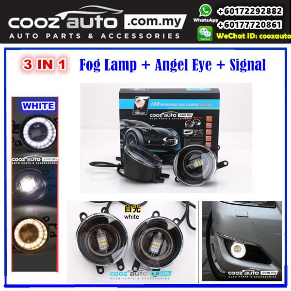 Perodua Myvi Icon 2015-2017 3in1 3.5 Inch LED Daytime Running Light DRL Fog Lamp + Signal Turning Light + Angel Eye (WHITE Color)