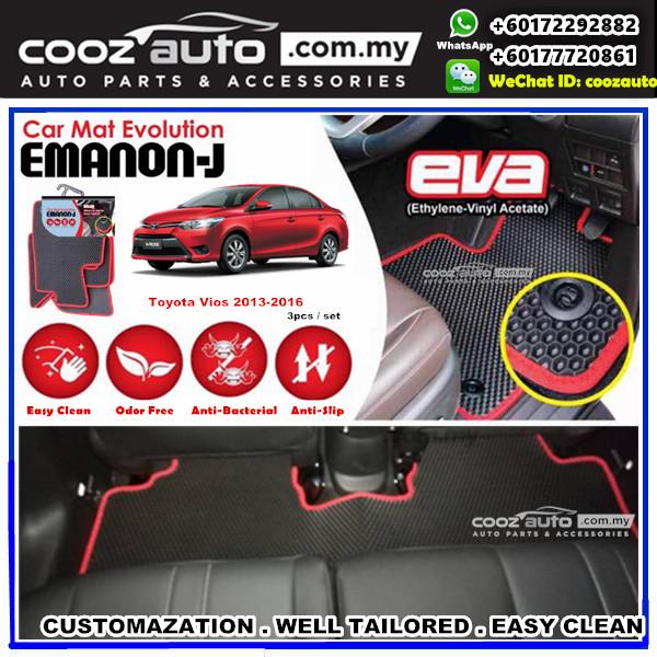 Toyota Vios 2013-2017 EMANON-J EVA Customized Odor-Free Anti-Bacterial Car Floor Mats Waterproof Carpet